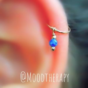 Cartilage Hoop Earring with Blue Fire Opal Charm